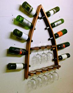 Barrel Stave 10 Bottle/8 Glass Wall Mount Wine Rack Steeple