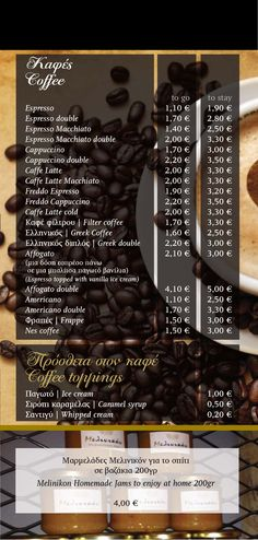 Coffee - Coffee Toppings Latte Macchiato, Coffee Coffee, Pancakes, Menu, Movie Posters, Menu Board Design, Film Poster, Pancake, Popcorn Posters