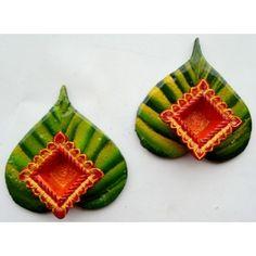 Leaf diya set - Online Shopping for Diyas and Lights by Megha's Artwork