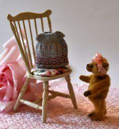 Baby Dress by Jenny Tomkins Children's Boutique, Miniature Dolls, Rocking Chair, Baby Dress, Dollhouse Miniatures, Wicker, Artisan, Handmade, Teddy Bears