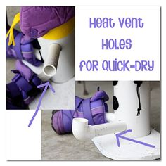 place this over a floor vent and the hot air will run through the PVC snowman and dry wet gloves and boots - so smart! - Snowman Glove Dryer Tutorial