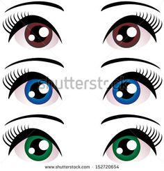 set of Women eyes with long eyelashes. Blue, brown, green. Vector. by EkaterinaP, via ShutterStock