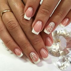 French Nails Glitter, French Tip Nails, Cute Acrylic Nails, Glitter Nails, Cute Nails, French Manicures, Wedding Day Nails, Wedding Nails Design, Glitter Wedding