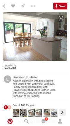 Kitchen Extension With Bifold Doors, Stone Kitchen, Kitchen Units, Laminate Flooring, Kitchen Interior, Tile Floor, Family Room, Windows, Dining