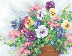 """Potted Pansies Paint By Number Kit 14""""X11"""""""