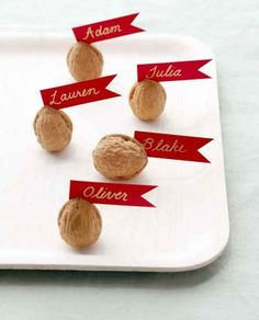 These easy walnut labels make great place settings at a dinner party, or a fun favor for guests to leave with.