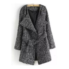 SheIn(sheinside) Dark Grey Lapel Tie-waist Woolen Coat (580 MXN) ❤ liked on Polyvore featuring outerwear, coats, tops, grey, long grey coat, lapel coat, gray wool coat, woolen coat and wool coat
