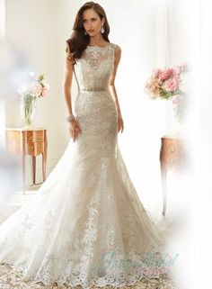 Illusion scalloped lace bateau neck aline wedding dress