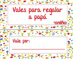 Vales del Día del Padre para imprimir decorados con topos de colores.  http://www.guiadelnino.com/en-familia/especial-dia-del-padre/vales-del-dia-del-padre-para-imprimir
