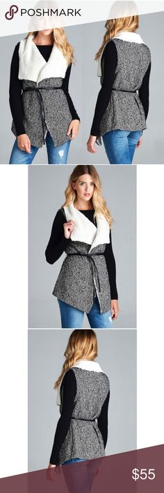 Black & White Fur Tweed Vest Jacket PreOrder ❣️Black & White Fur Tweed Vest Jacket. No trades. Price is firm unless bundled.      80% Polyester 20% Wool Glamvault Jackets & Coats