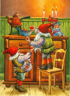 LC / Lars Carlsson, Sweden Swedish Christmas, Scandinavian Christmas, Christmas Elf, Vintage Christmas Cards, Vintage Cards, Vintage Postcards, Christmas Knomes, Kobold, Yule