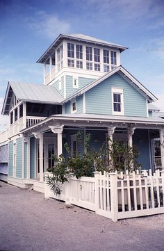 What house color with a grey roof - Home Decorating & Design Forum - GardenWebI like that the widow's walk is partially covered windows. Lake Cottage, Coastal Cottage, Coastal Homes, What House, D House, House Roof, Style At Home, Haus Am See, Crow's Nest