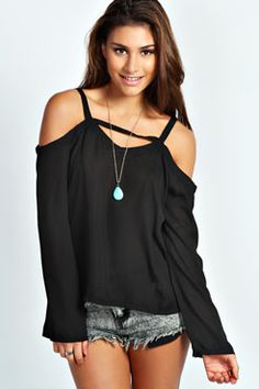 Willow Cut Out Detail Blouse at boohoo.com
