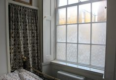 DIY Window Film - Temporary Window Treatments w/ lace & starch Diy Lace Privacy Window, Privacy Glass, Privacy Window Film, Privacy Curtains, Privacy Panels, Net Curtains, Curtain Fabric, Fabric Decor, Unique Window Treatments