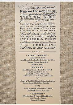 vertical menu - front: thank yous + menu; back: reception program/ in lieu of favors...