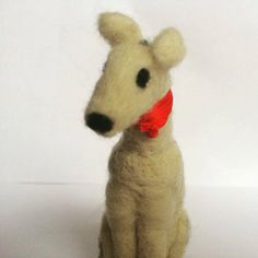 White Dog sculpture  Soft Sculpture  Needlefelted by KubuHandmade