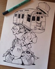 Trainface,NY.... #cheo #sketch #ny #train #subway