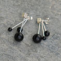 Obsidian earrings - front and back -  made by Wildaria