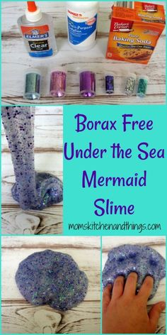 We had soooo much fun with the Red, White, & Blue Glitter Slime that we just had to make more!  This beautiful Mermaid inspired slime is borax & detergent free.  In just a few steps you can have your own Mermaid slime!   1/2 C hot water 1 tsp baking soda contact solution clear glue …