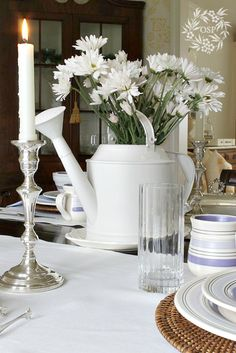 Spring into summer tablescape perfect for a casual meal.