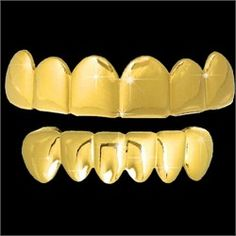 ALL SHINY Gold Grillz Hip Hop Grills TOP & BOTTOM TEETH COMBO