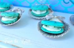 Macaron clam cookies from a Vintage Glamorous Little Mermaid Birthday Party on Kara's Party Ideas | KarasPartyIdeas.com (36)