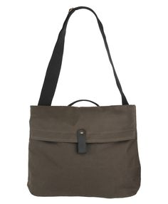 Canvas Handbag.    A canvas handbag that features faux leather trimming and one handle strap. Adjustable shoulder strap. Tonal top stitching. One adjustable snap button closure. Interior patch and zipper pocket. Fully lined.