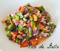 Pico de Gallo Recipe; we subbed tomatoes for 10 romas, less 1/2 an onion and only one green pepper and used fresh garlic
