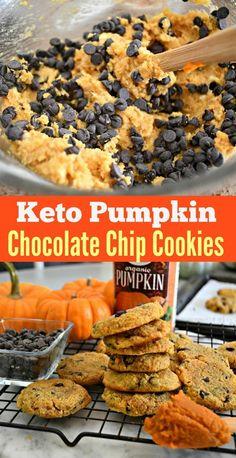 Bake These Keto Pumpkin Chocolate Chip Cookies! - Keto Recipes - Ideas of Keto Recipes - Keto Pumpkin Chocolate Chip Cookies Keto Desserts, Keto Friendly Desserts, Keto Snacks, Dessert Recipes, Cookie Recipes, Carb Free Desserts, Keto Foods, Biscuits Keto, Keto Postres