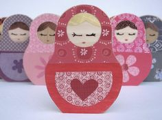 Matryoshka Love Doll Wooden Art  ecofreindly by by MapleShadeKids, $17.00