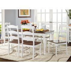Simple Living Skipton White/Walnut Wood 7 Piece Dining Set