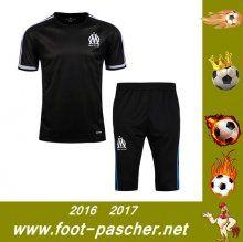 Ligue 1 : T-Shirt Du Marseille OM + Pantalon 3/4 Noir Kit Saisson 2016 2017 Thailande Pas Chere