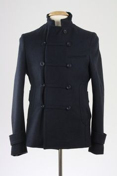 Troy Smith Urban Outfitters Dark Navy Wool Military Peacoat Mens M | eBay