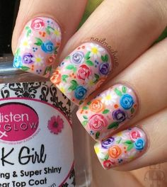 Spring nail art Pedicure Colors, Pedicure Designs, Pedicure Nail Art, Diy Nails, Spring Nail Art, Nail Designs Spring, Spring Nails, Spring Art, Summer Nails