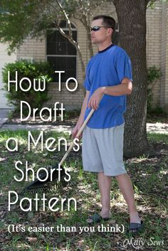 How to draft mens shorts pattern - http:// can't say i'll draft it. but CAN say i'll use it to compare ruggy's fave pants to intended patterns. Mens Sewing Patterns, Sewing Men, Love Sewing, Clothing Patterns, Pattern Sewing, Pattern Drafting, Hand Sewing, Diy Clothing, Sewing Clothes