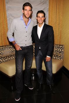 & there are my & favorite players! ----- Tennis players Juan Martin del Potro & Rafael Nadal attend the BNP Paribas Tennis Showdown cocktail party at Essex House on March 2013 in New York City. Rafael Nadal, Serena Williams, Nadal Roland Garros, Atp Tennis, Portrait Photography Men, Bnp, Sport Icon, Tennis Stars, Victoria