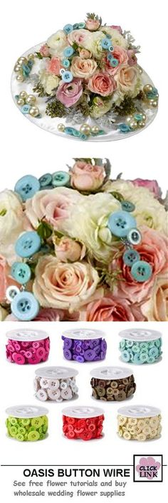 Oasis Button Wire - Flower Accessories and Jewelry $16.99 for 18 ft. spool with 3 sized buttons