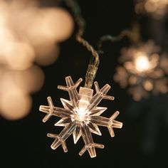 Battery Operated Lights - Battery Operated Snowflake String Lights, 10 Warm White LED Lights - Christmas Lights, Etc Snowflake Christmas Lights, Christmas Time, Snowflakes, Christmas Decorations, Christmas Lunch, Holiday Decorating, Battery Operated String Lights, Christmas Light Installation, White Led Lights