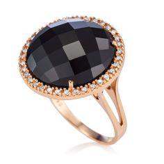 Anel em ouro rosé 18k, 14 pts de diamantes e 1 ônix - Coleção Royal