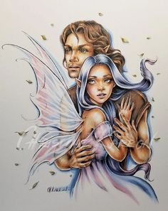 Image may contain: 2 people Fairy Coloring, Adult Coloring, Coloring Books, Coloring Pages, Colouring Heaven, Fairy Pictures, Art Impressions, Colouring Techniques, Artist Trading Cards