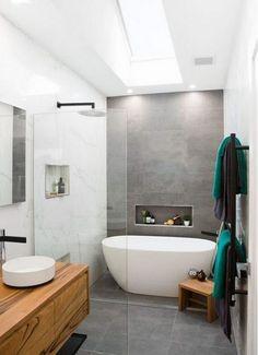 Ensuite bathrooms, grey bathrooms, laundry in bathroom, bathroom renos, the New Bathroom Designs, Bathroom Interior Design, Modern Bathroom, Bathroom Grey, Master Bathroom, Teak Bathroom, Warm Bathroom, Bathroom Styling, Dark Floor Bathroom