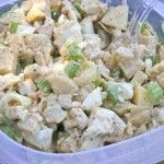 Picnic Chicken Salad  3-4 cooked chicken breasts, diced into bite size pieces  1 apple, diced  4 celery stalks, diced  1 – 8oz can of sliced water chestnuts, diced  1 cup diced green cabbage  Homemade Mayo to taste  Pepper to taste  Mix all ingredients together!