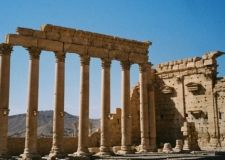The Roman ruins of Palmyra in a Syrian desert feature an army of pink granite classical columns.