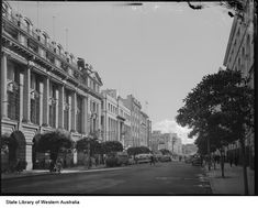 St Georges Terrace looking west to the Old Barracks in the distance, 1952