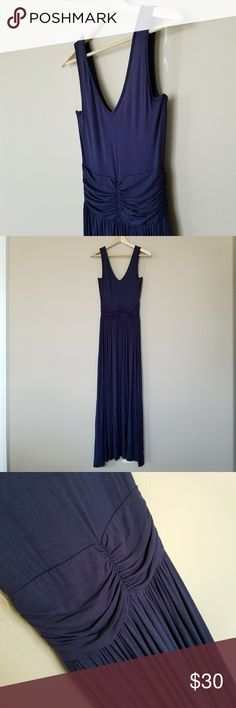"Navy Maxi Waist Dress - MAXI DRESS - STRAP SLEEVELESS - DEEP V-NECK, V-BACK - ELASTIC WAIST - STRECHY MATERIAL - SOLID NAVY COLOR  95% RAYON 5% SPANDEX  - LENGHT: 54"" - CHEST: 14"" - WAIST: 11"" blupitch Dresses Maxi"