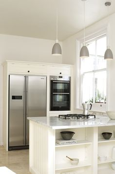 How do you plan a kitchen design around an American Fridge Freezer? Kitchen Cupboard Designs, Kitchen Room Design, Kitchen Cupboards, Home Decor Kitchen, Kitchen Interior, Pantry Cupboard, Kitchen Taps, American Fridge Freezer Built In, American Fridge Freezers