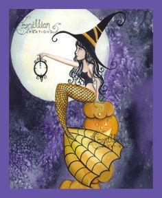 Mermaid Witch with Clock
