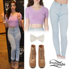 Fifth Harmony Meet & Greet at The Neon Lights Tour in Columbus. March 22, 2014 – photo: fifth-harmony Camila Cabello met fans with her bandmates on Saturday wearing a Fuzzy Cropped Tee ($58.00), the Easy Jeans ($78.00) and a Bow Hair Clip ($14.00) all from American Apparel, with a pair of Jeffrey Campbell Lita Platform Boots ($177.20).