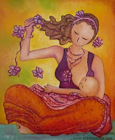 "Gioia Albano Mama Artist: Painting release / nouveau tableau ""Beautiful Sitting mama breastfeeding"""