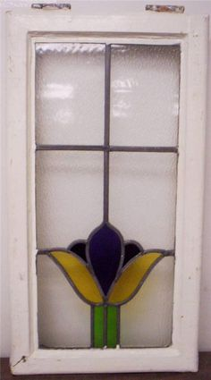 """OLD ENGLISH LEADED STAINED GLASS WINDOW Tall Narrow Tulip Design 13.5"""" X 25"""""""
